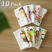 NANPIPER Unisex 10-Pack Organics Cotton Baby Washcloths, Uper Soft Baby Towels Handkerchiefs safari friends, 12 x 12 Inches Reusable Baby Wipes for Boys and Girls
