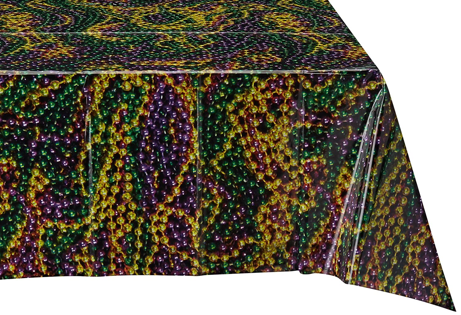 54-Inch by 108-Inch The Beistle Company Beistle 57938 Mardi Gras Beads Tablecover