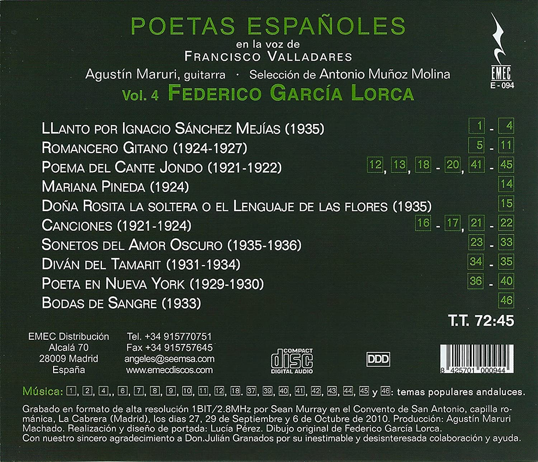 Poetas Españoles Federico Garcia Lorca - Volumen 4: Francisco ...