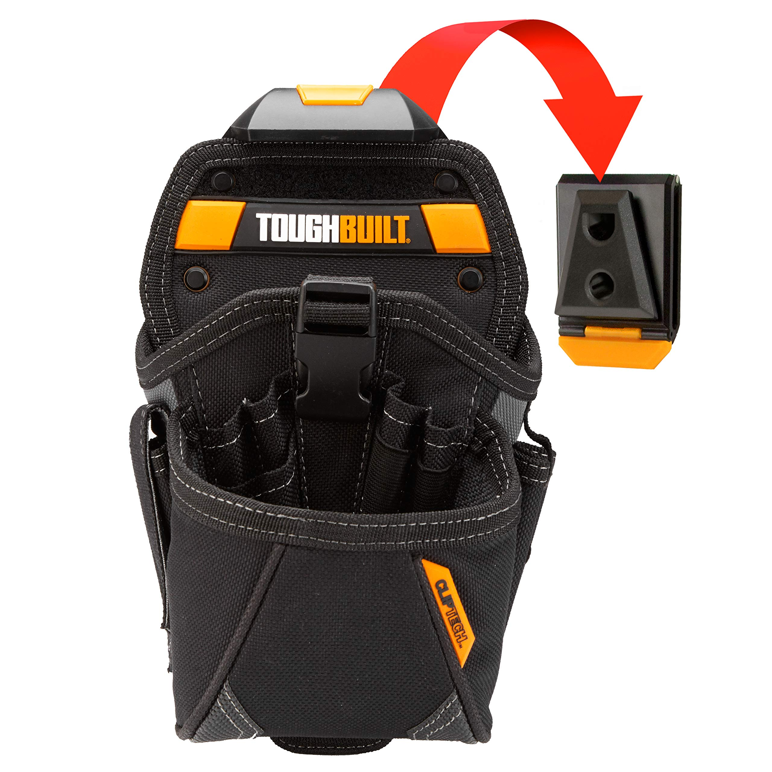 ToughBuilt - Drill Holster Specialist - Covered Accessory Pocket, 15 Pockets, 7 Drill Pockets & 2 Screw Driver Loops, Carabiner Attachments Loops (Patented ClipTech Hub & Work Belts) (TB-CT-20-LX) by ToughBuilt