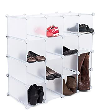 Internetu0027s Best Shoe Cubby Storage Organizer | 16 Cube | Interlocking Shoe  U0026 Boot Rack |