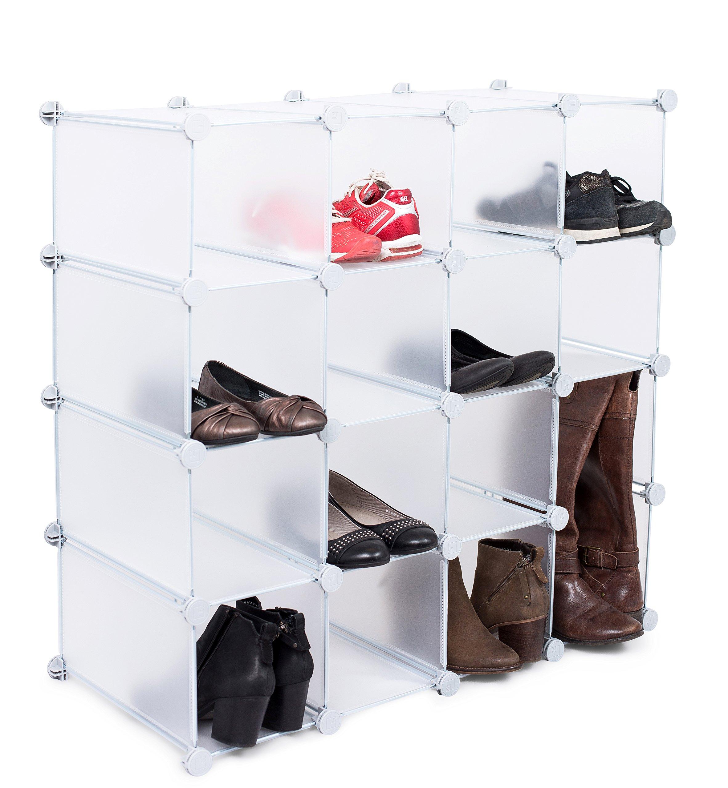 Internet's Best Plastic Shoe Storage Cube Organizer | 16 Cubby | Interlocking Shoe & Boot Rack | Under Stairs Shoe Organization Shelf | Cabinet Closet Modular Shelving | Store Clothes, Toys, Handbag