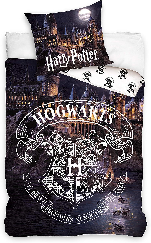 Copripiumino 140 x 200 cm e Federa 63 x 63 cm in Cotone Biancheria da Letto per Bambini Potter Harry