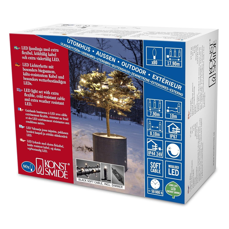 Konstsmide 6621-117 Micro LED Lichterkette für Außen (IP67)   schutzisoliert umgossen   mit Dimmer   80 warm weiße Dioden schwarzes Softkabel