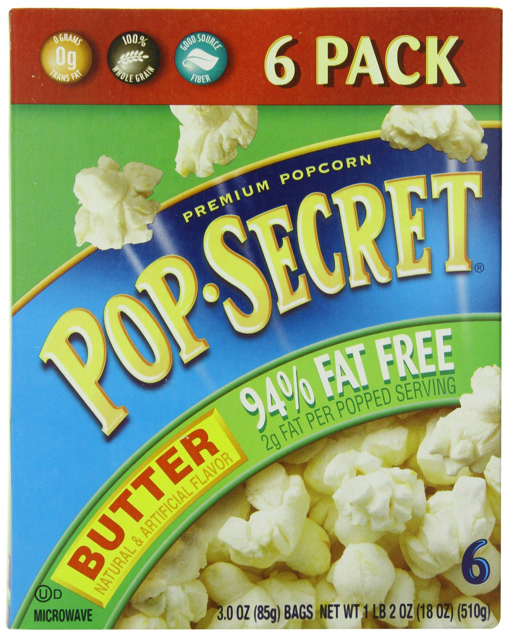 Pop Secret 94% Fat Free Butter Popcorn, 3.0 oz. Bags, 6 Count