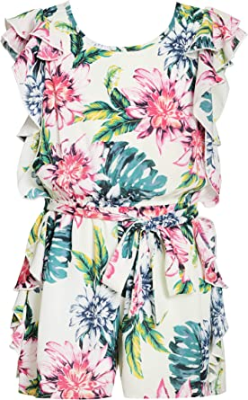 Size 7-16 Big Girls Designer Spring//Summer Romper with Ruffle Details Truly Me