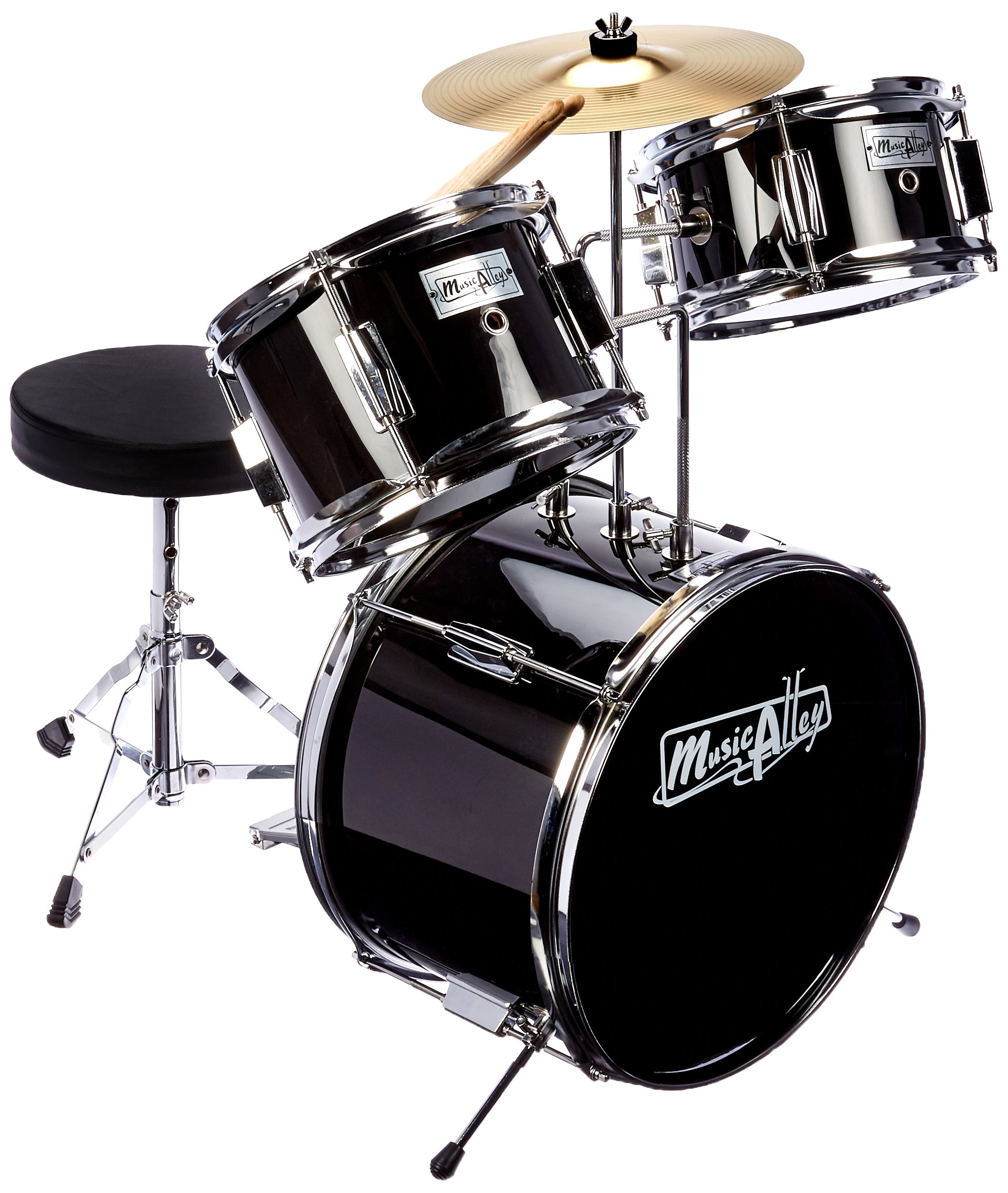 Music Alley DBJK02-BK - Juego de batería para principiantes