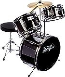 Music Alley DBJK02-BK Kids 3 Piece Beginners Drum Kit, Black