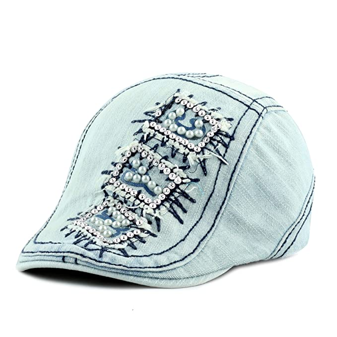 2d4467b34a The Hat Depot 200H5358 NYC beaded bling washed rhinestone studded ivy hat  (Denim Blue)