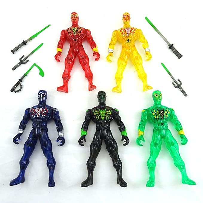 Ninja Play Set With Light Up Eyes - Toy Warrior Ninjas With Toy Swords