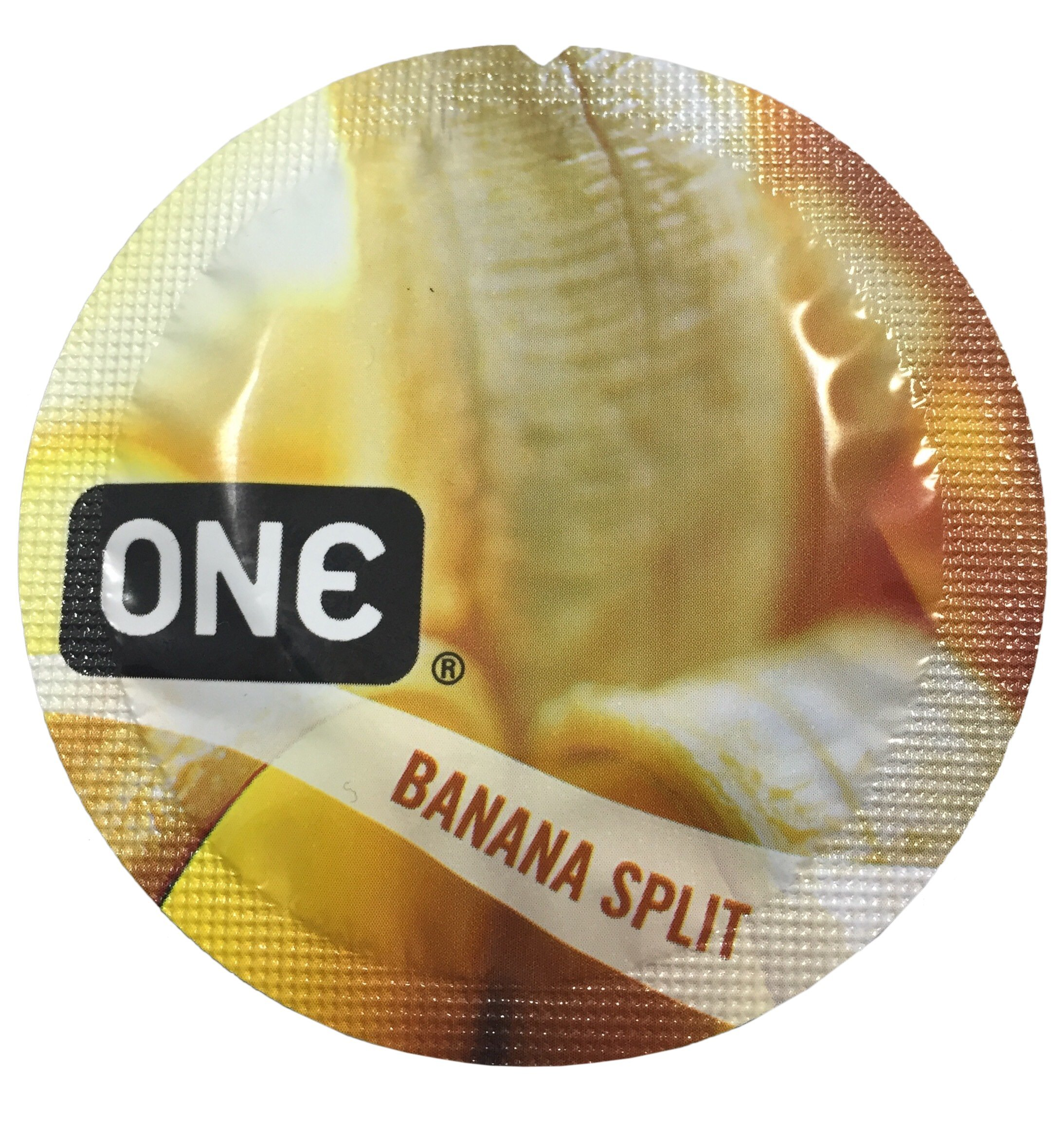ONE Banana Split Flavored Lubricated Latex Condoms with Silver Pocket/Travel Case-12 Count