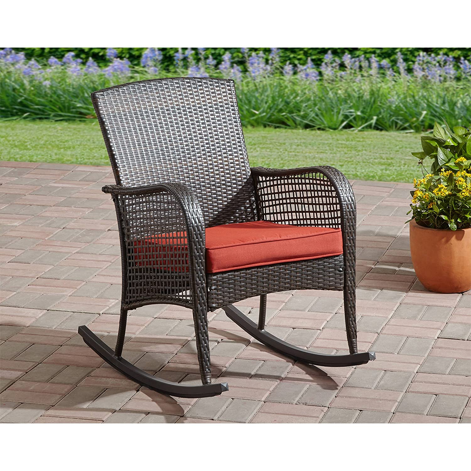 Care 4 home llc garden cushioned wicker rocking chair durable steel frame all weather lumbar support indoor and outdoor furniture porch patio comfort