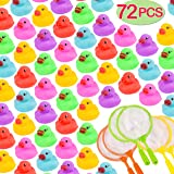 72-Pack Mini Bath Ducks Set, Mini Colorful Rubber Duckies Bath Toy for Child, Float & Squeak Tiny Ducks Pool Toy Set for…