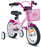 "PROMETHEUS Kids bike 12 inch Girls in pink purple & white with stabilisers | Aluminum Calliper brake and backpedal brake | including security package | as from 3 years | 12"" Classic Edition 2018"