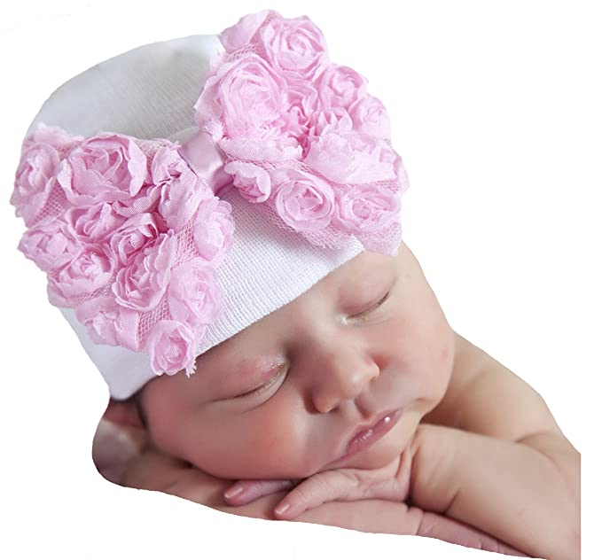 6c27cfdb936 Image Unavailable. Image not available for. Color  Melondipity s Big Pink  Rosette Bow Nursery Beanie - Newborn Girls