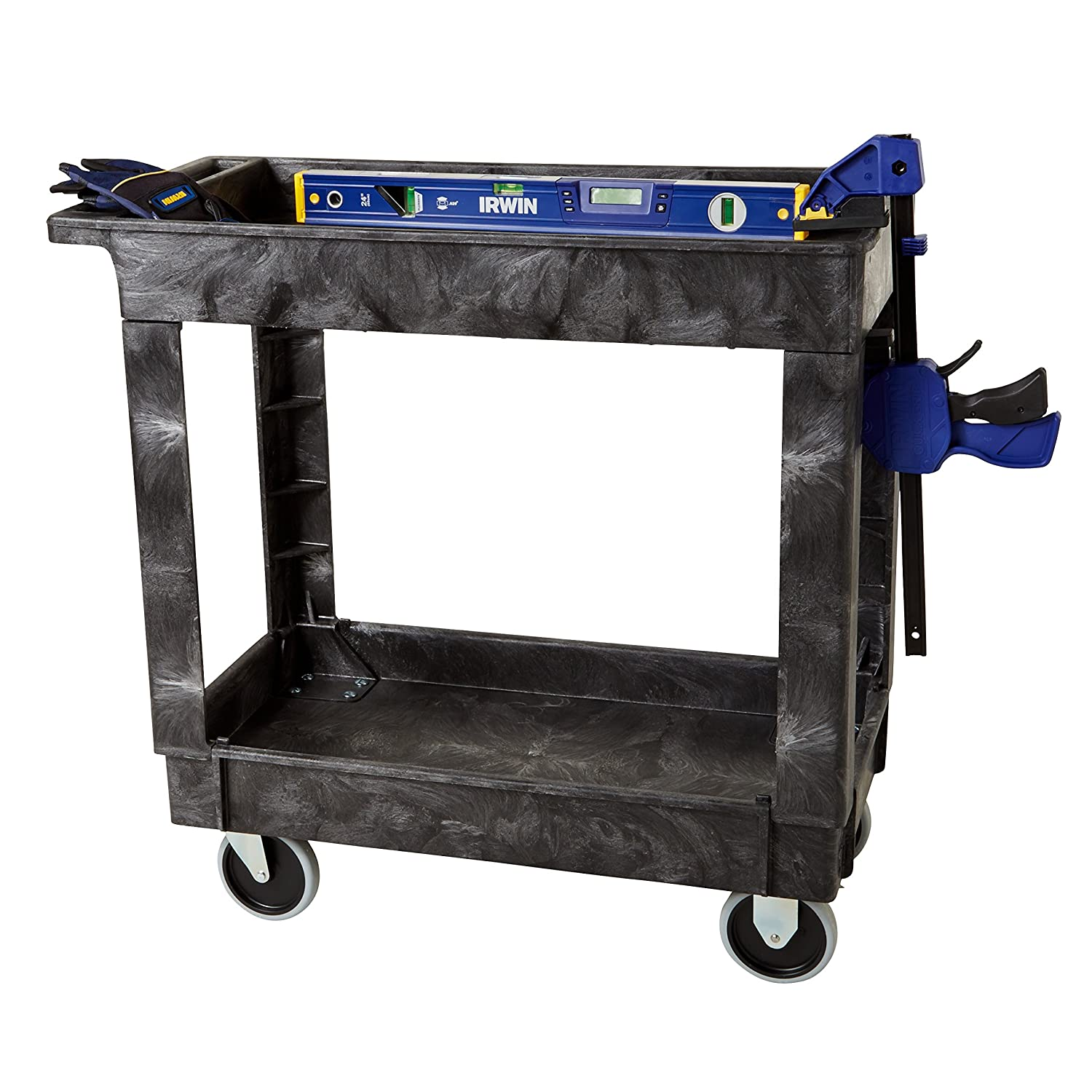 Rubbermaid Commercial Products 2-Shelf Utility/Service Cart, Small, Lipped Shelves, Standard Handle, 500 lbs. Capacity, for Warehouse/Garage/Cleaning/Manufacturing (FG9T6600BLA): Industrial & Scientific