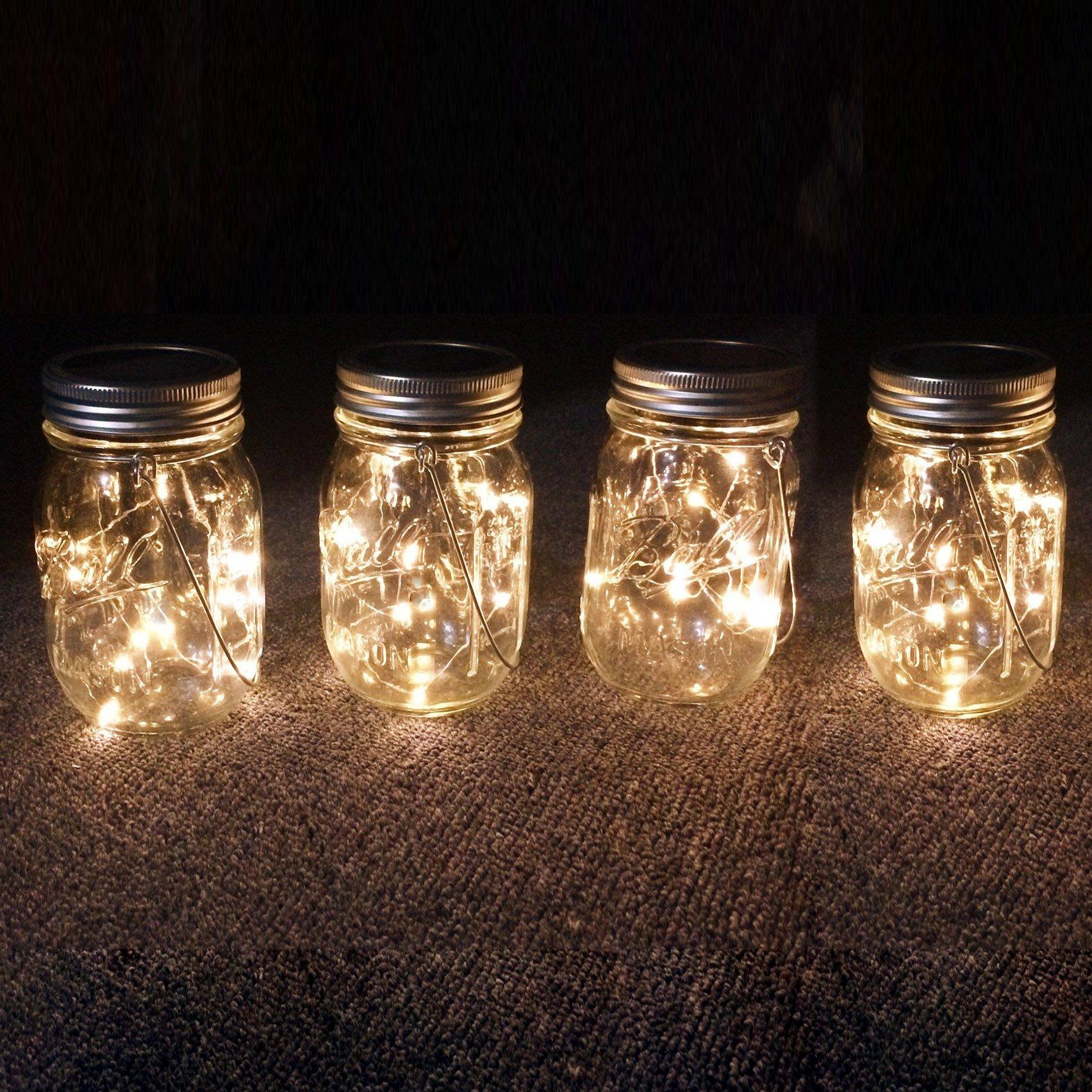 Mason Jar Solar Lantern Lights, 8 Pack 10 Leds Fairy Star