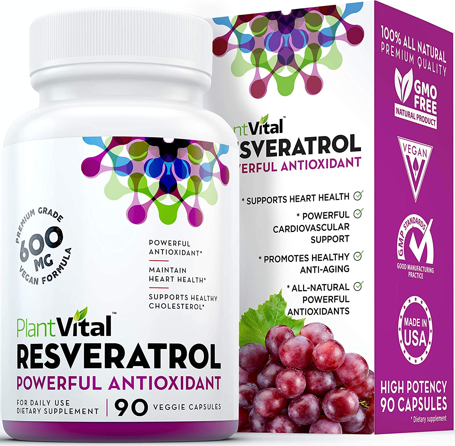 New Resveratrol High Potency 90 Vegan Capsules Not Pills