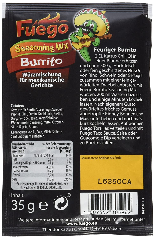 Fuego Burrito Seasoning Mix, 6er Pack (6 x 35 g): Amazon.de ...