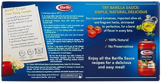 Barilla Pasta Oven Ready Lasagne No Boil Lasagne Pasta 9 Ounces