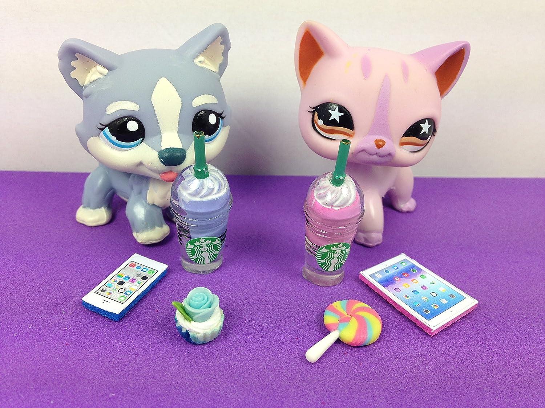 LPS Accessories Starbucks Food Littlest Pet Shop 6 pc. Lot Set: 1 Tablet, 1 Phone, 2 Starbucks, 2 Snacks; PET NOT INCLUDED