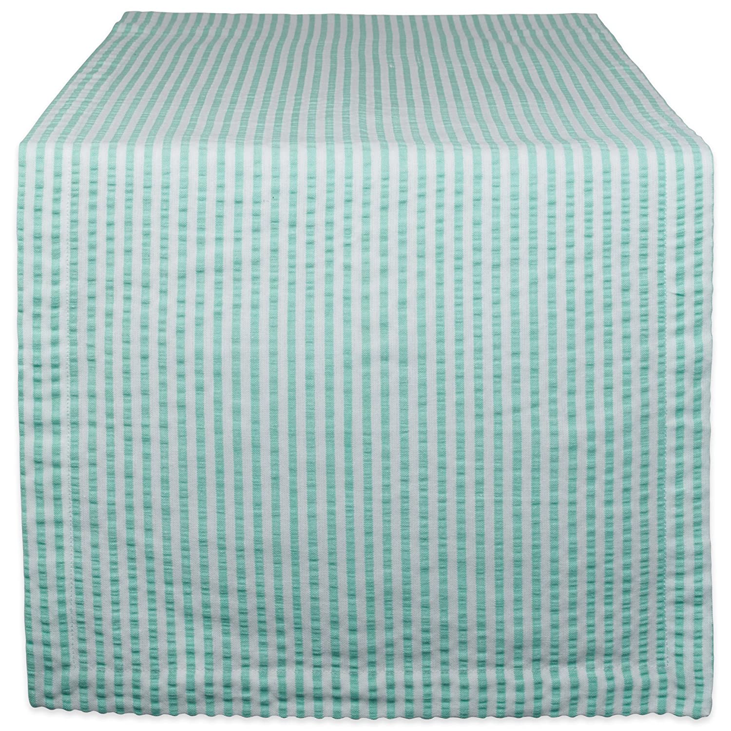 DII Cotton Seersucker Striped Table Runner, Bright Green & White, 14x72 CAMZ38950