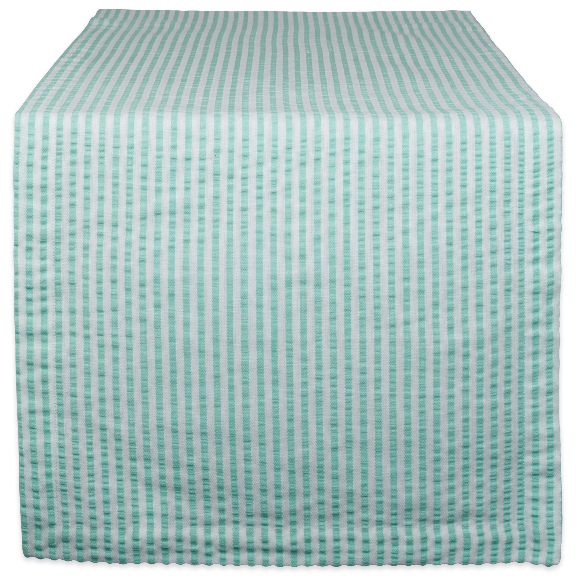 DII Cotton Seersucker Striped Table Runner Dinning Room, Entryway Weddings, Parties Everyday Use, 14x108, Aqua Blue White by DII