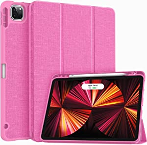 Soke New iPad Pro 11 Case 2021 with Pencil Holder - [Full Body Protection + 2nd Gen Apple Pencil Charging + Auto Wake/Sleep], Soft TPU Back Cover for 2021 iPad Pro 11 inch (Hot Pink)