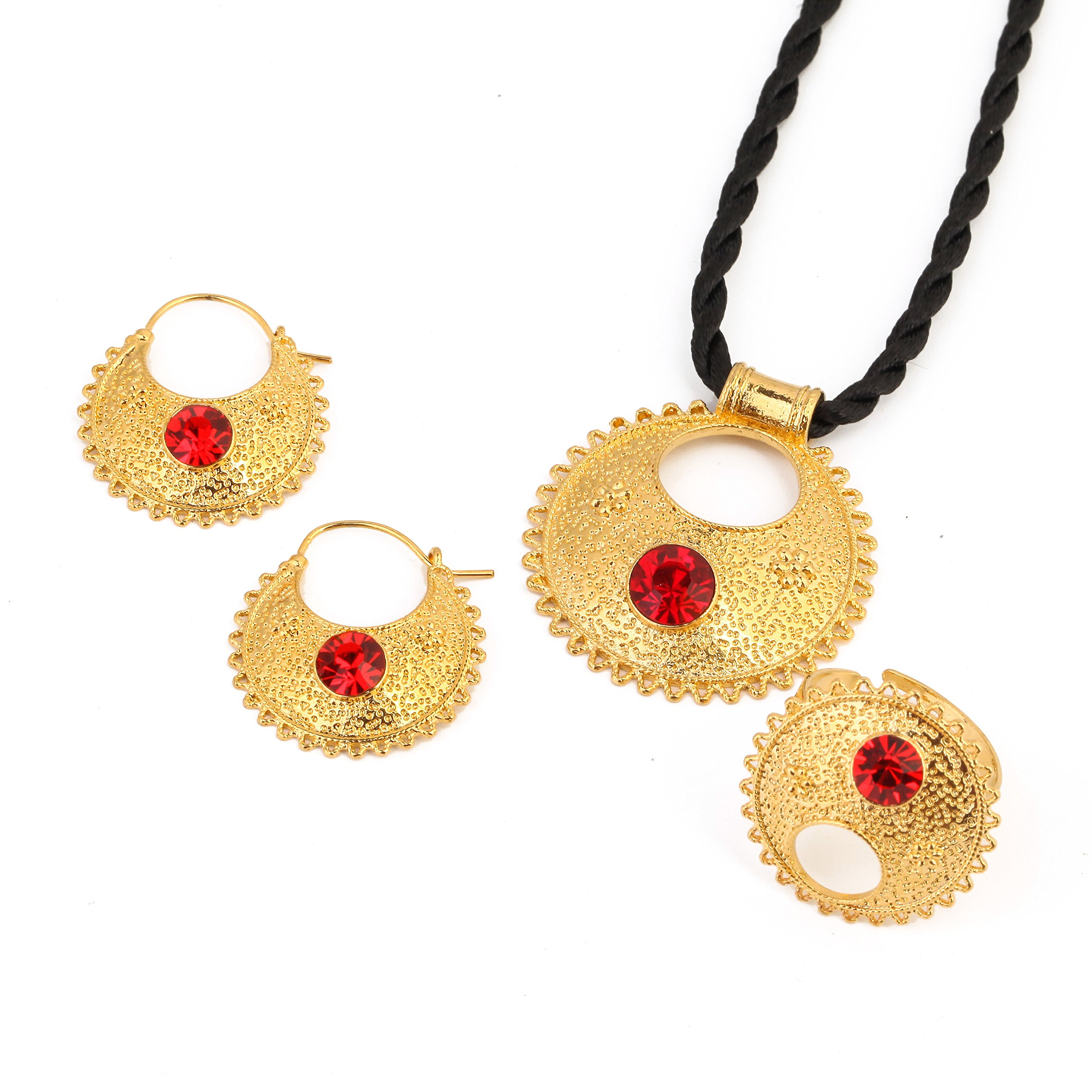 Stone Ethiopian New Jewelry Pendant Necklace Earrings Ring Ethiopia Africa Bride Wedding Eritrea Sets (Red)
