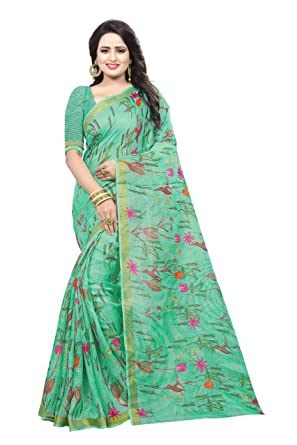 cf41118b6c TRUNDZ Women's Khadi Cotton Saree (N552, Multicolour, Free Size ...
