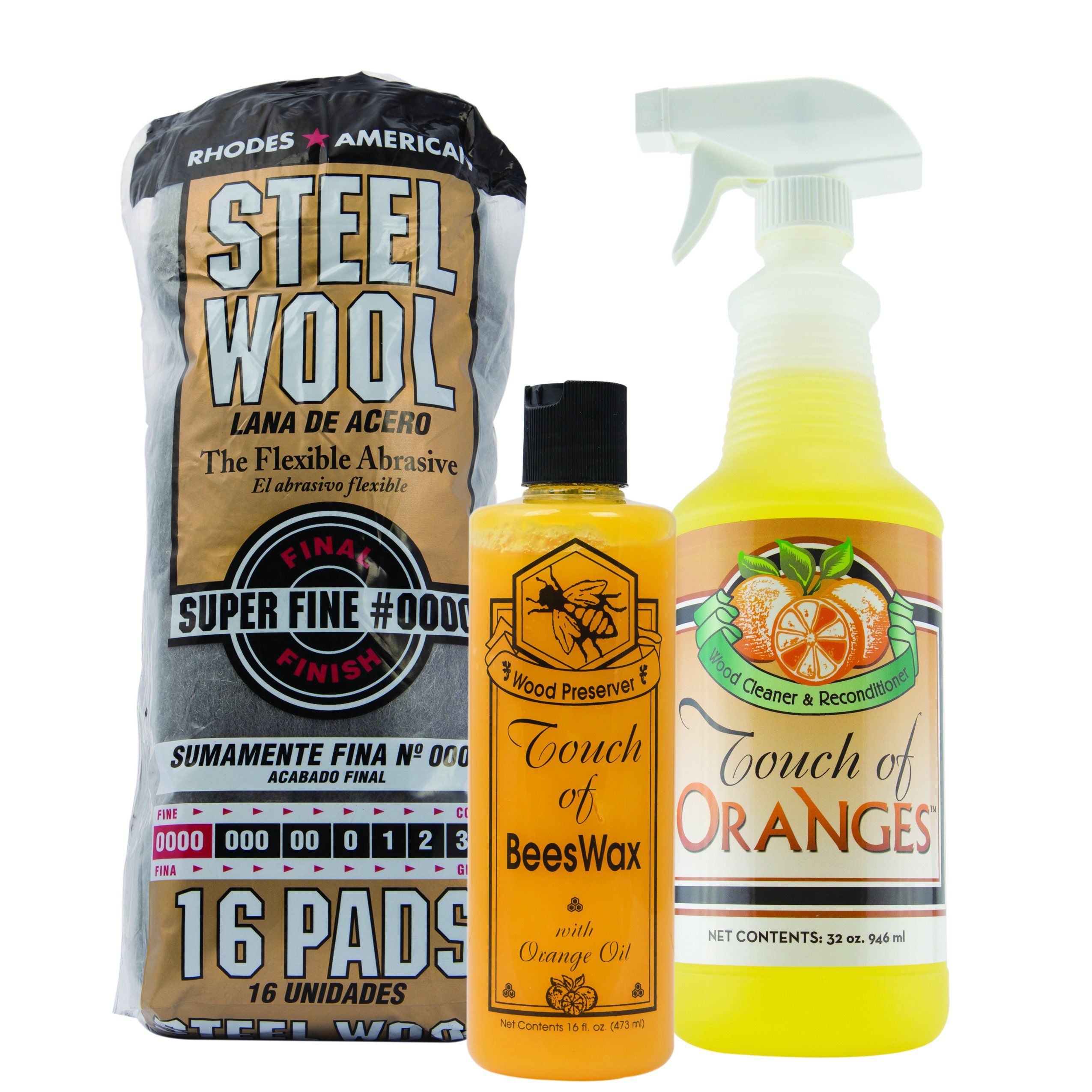 Orange Wood Cleaner & Wood Preserver & Steel Wool 0000 Grade, Hardwood Cleaner, Clean Kitchen Cabinets, Wood Floor Restorer, Wood Table Cleaner, Restore (32oz Cleaner & 16 oz Preserver) by Touch Of Oranges