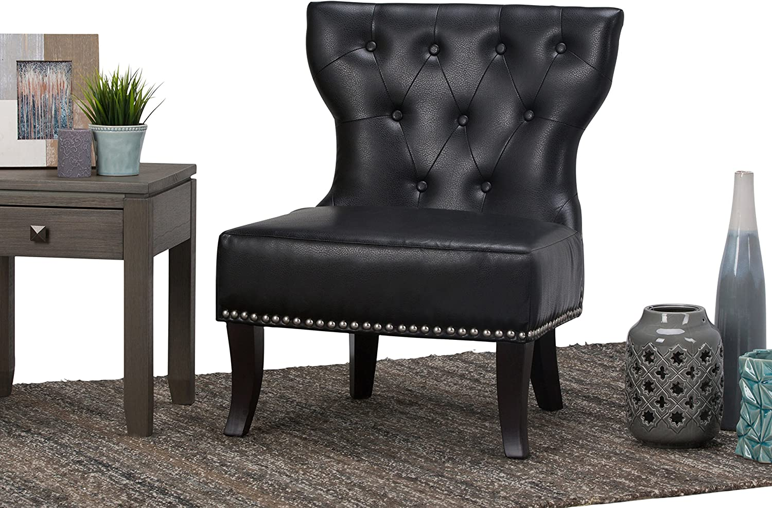 Simpli Home Kitchener 28 inch Wide Traditional Accent Slipper Chair in Black Textured Bonded Leather