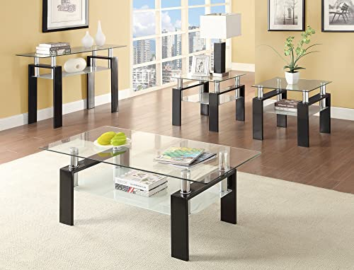 Coaster Square Glass Top End Table in Black