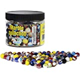 Set Of 100 Peewee Marbles, ½ inch, Assorted Colors, with Portable Container.