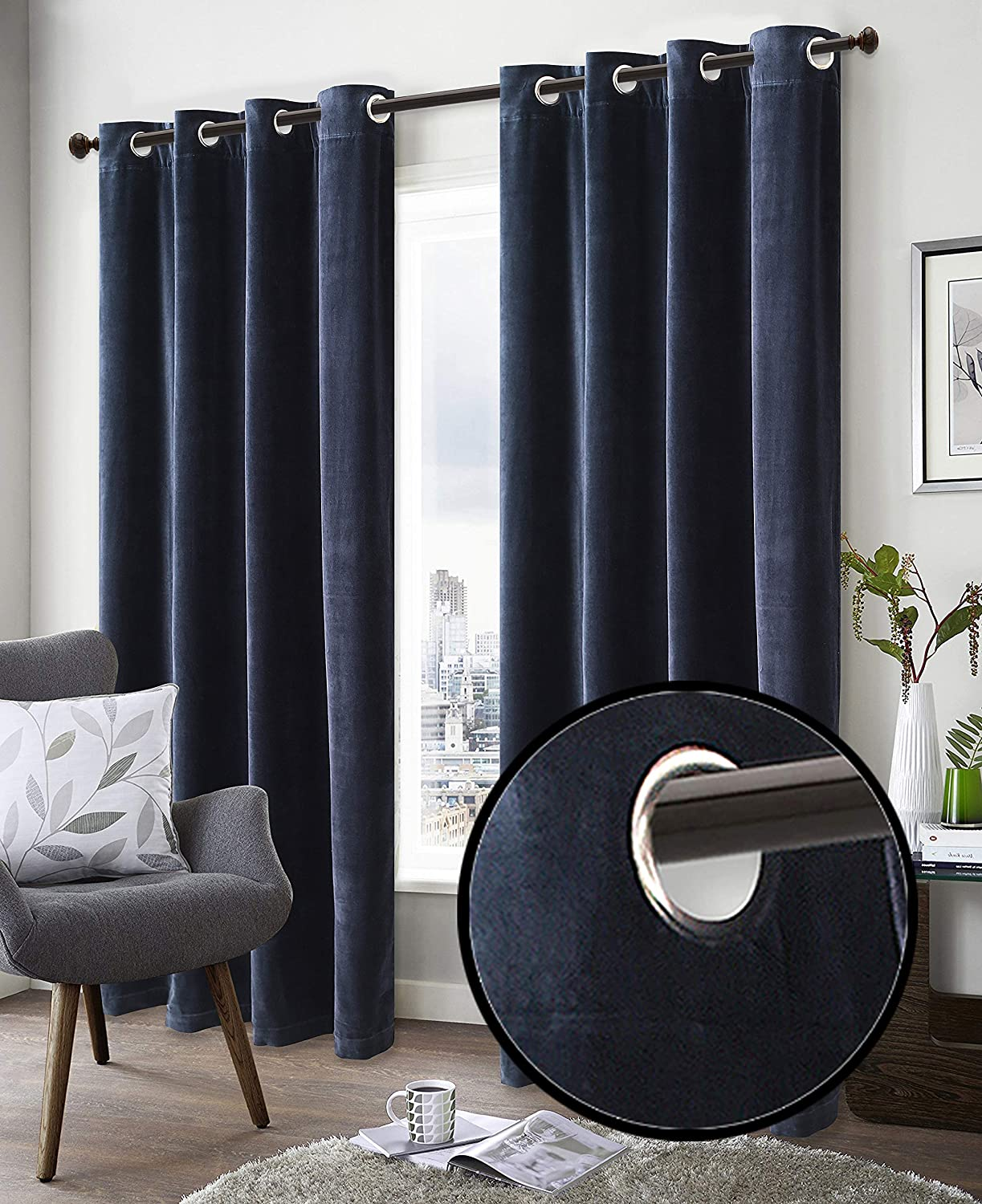 Super Soft Luxury Velvet Window Curtain, 50 Inch x 72 Inch, Velvet Cotton Grommet Window Curtain Panel, Set of 2, Navy