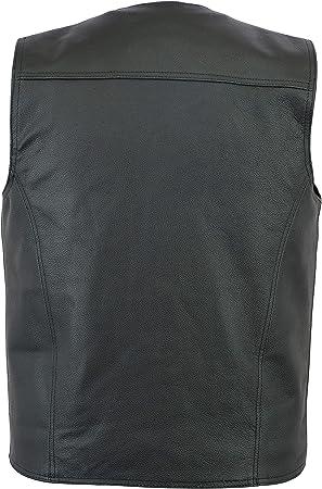 Jet Genuine Leather Motorcycle Motorbike Biker Waistcoat Vest Side Laces L, Black