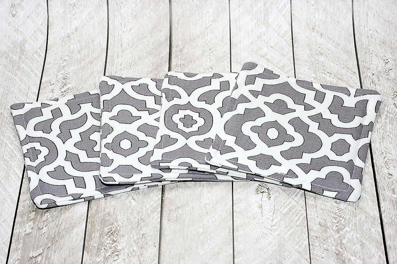 Grey Medallion Print Fabric Coasters