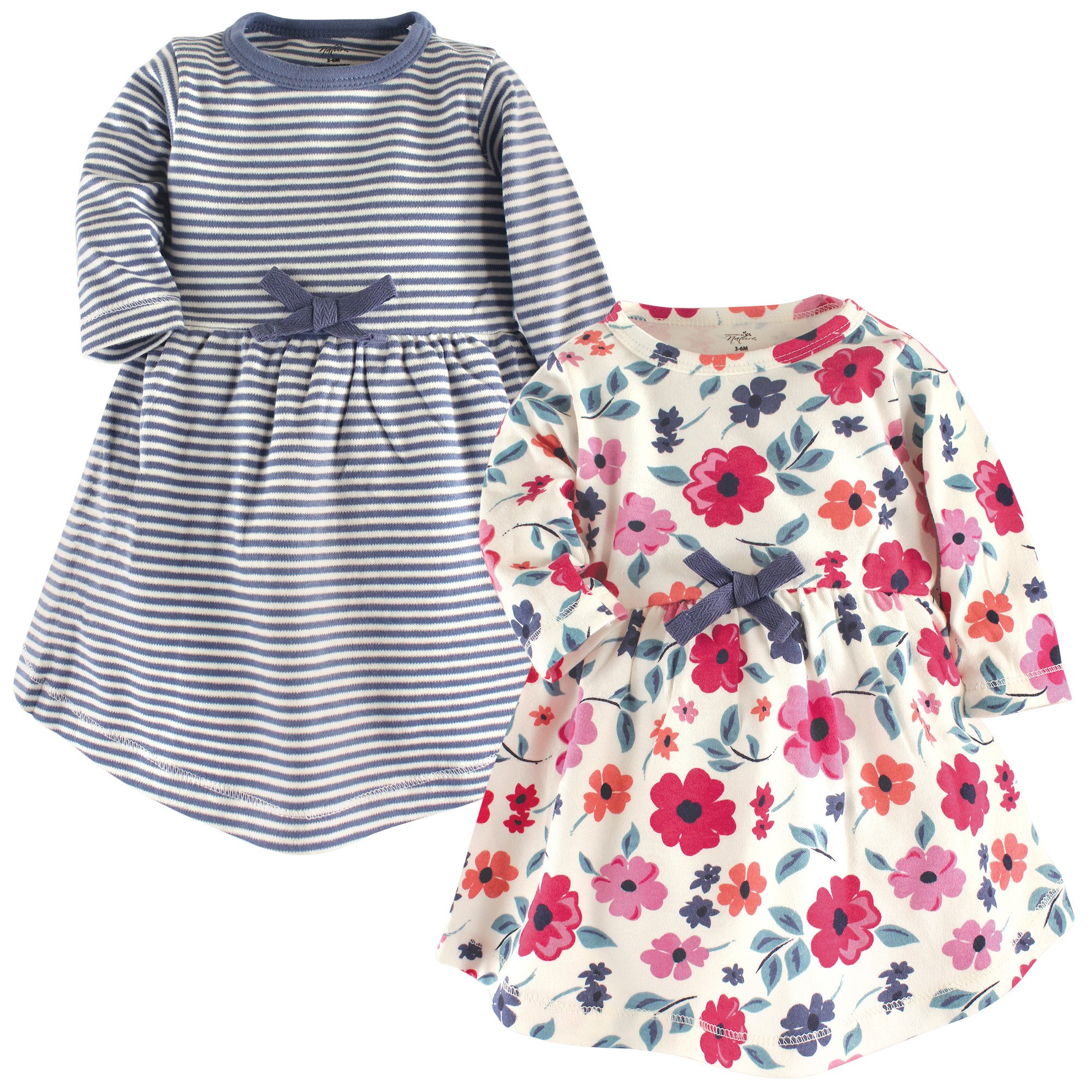 Touched by Nature Baby Girl Organic Cotton Dresses, Garden Floral Long Sleeve 2 Pack, 3 Toddler (3T)
