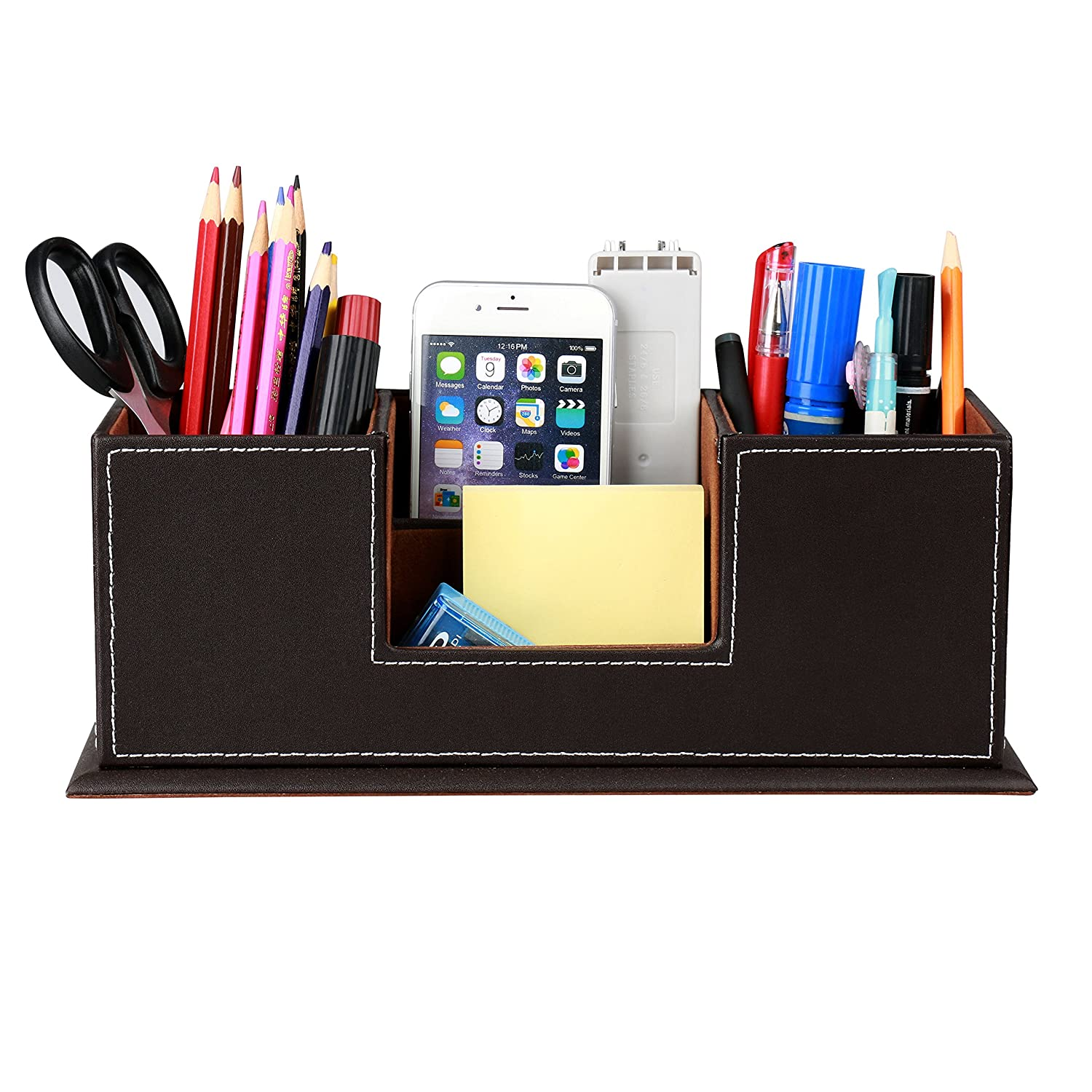 HOMETEK PU Leather Desktop Storage Box 4 Compartment Desk Organizer  Card/Pen/Pencil/Mobile Phone/Remote Controller/Cosmetics Office Supplies  Holder ...
