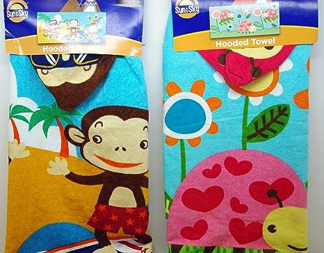 Set de 2 con capucha toallas de playa/baño – Lady Bug y Surf Mono