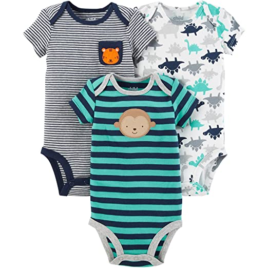 e81885a9941f Amazon.com  Carter s Child of Mine Baby Boys 3 Pack Bodysuit Set ...
