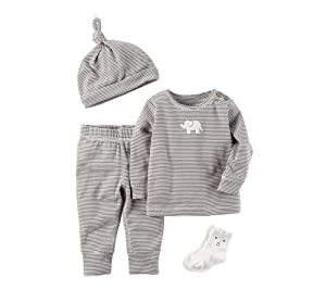 Carters Baby 4 Piece Elephant Take Me Home Set,Gray ,12 Months