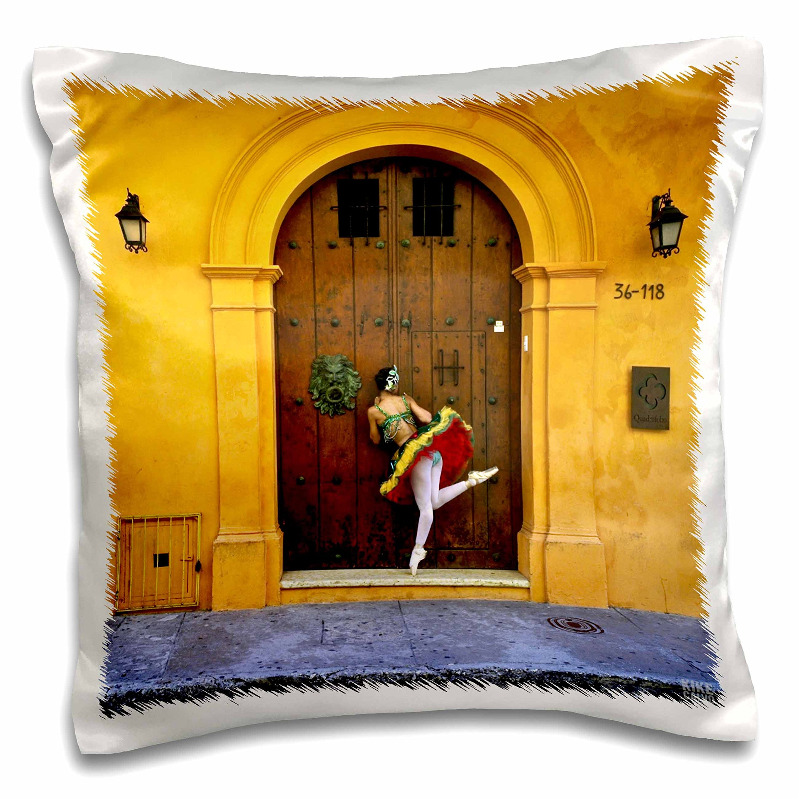 3dRose Gina, a Colombian Professional Ballet Dancer in Cartagena Peaking Through a Wood Door Pillow Case, 16 x 16''