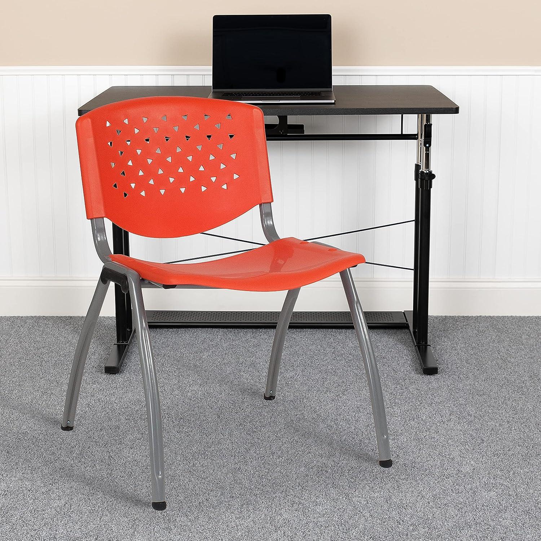 Flash Furniture 5 Pack HERCULES Series 880 lb. Capacity Orange Plastic Stack Chair with Titanium Gray Powder Coated Frame