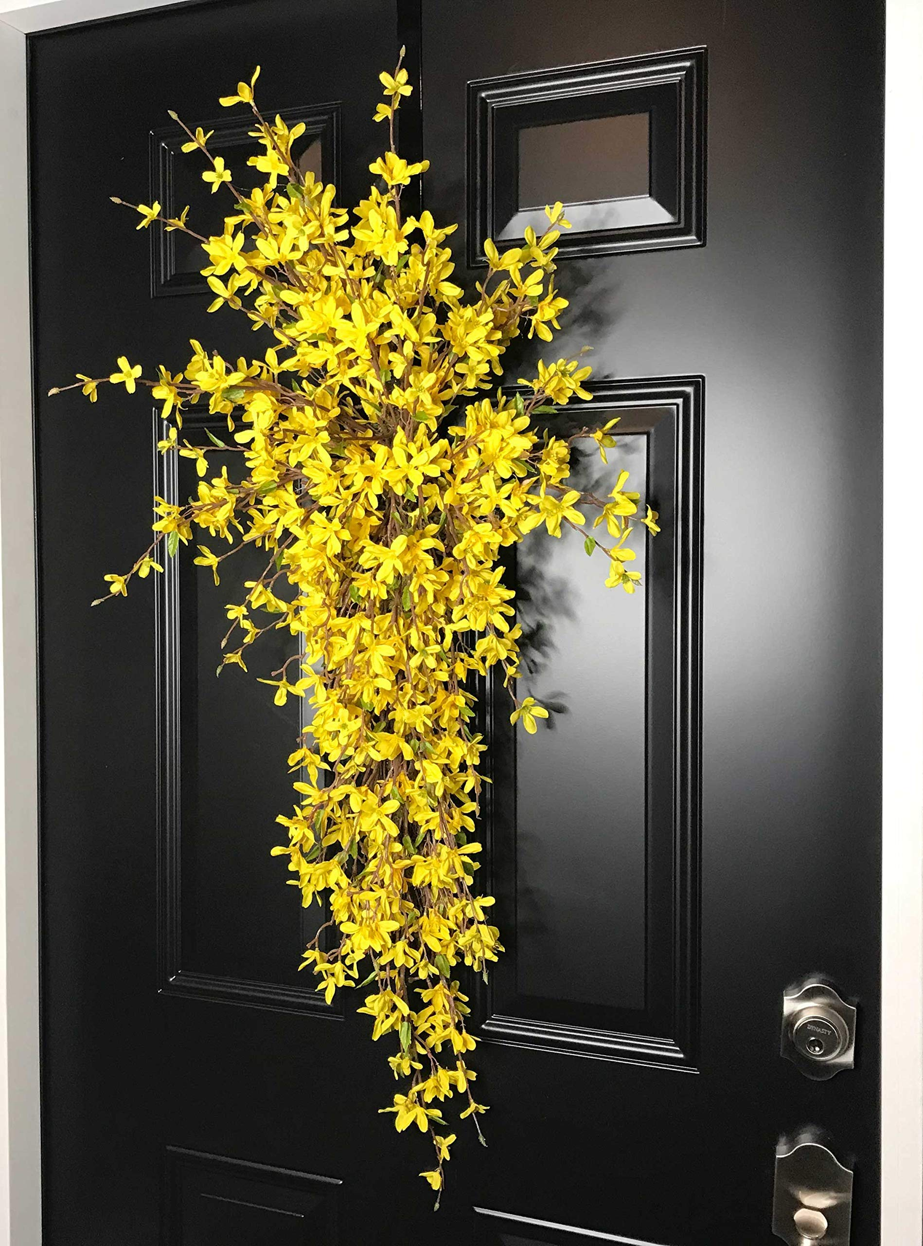 Extra Large Forsythia Floral Teardrop Swag Wreath for Front Door Porch Indoor Wall Farmhouse Decor Spring Springtime Summer Summertime Mother's Day Easter, Handmade, Yellow, 3 Sizes-42'', 36'', 30'' L by Wreath and Vine, LLC (Image #4)