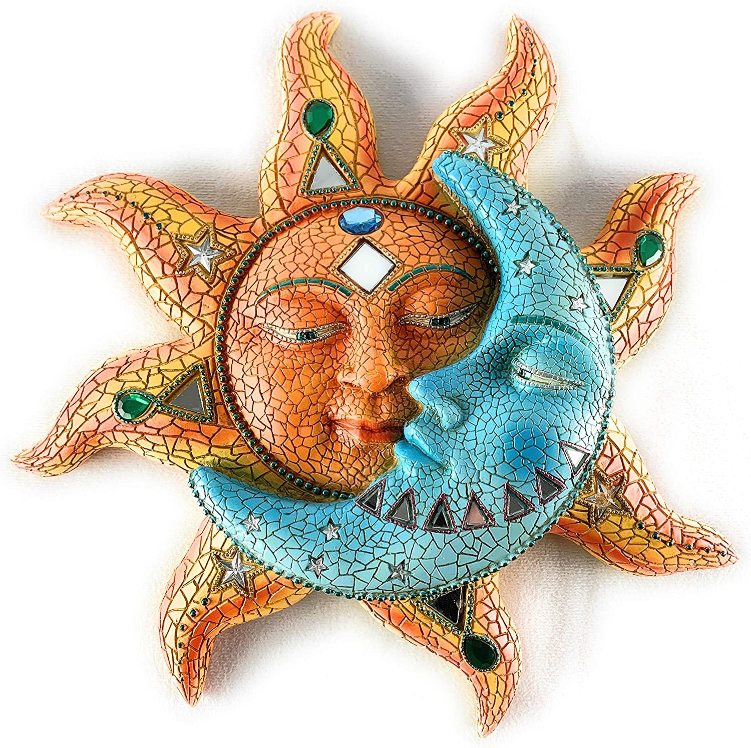 Sun And Blue Moon 3D Mosaic Celestial Face Decor Indoor Outdoor Wall Art Plaque Sculpture Mount For Inside Home Living Room Bedroom Bathroom Kitchen Or Outside Patio Fence Porch,11.5X11.5 inch