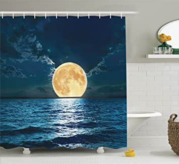 moon shower curtain ocean decor by ambesonne magical super moon over ocean surface midnight view - Ocean Decor