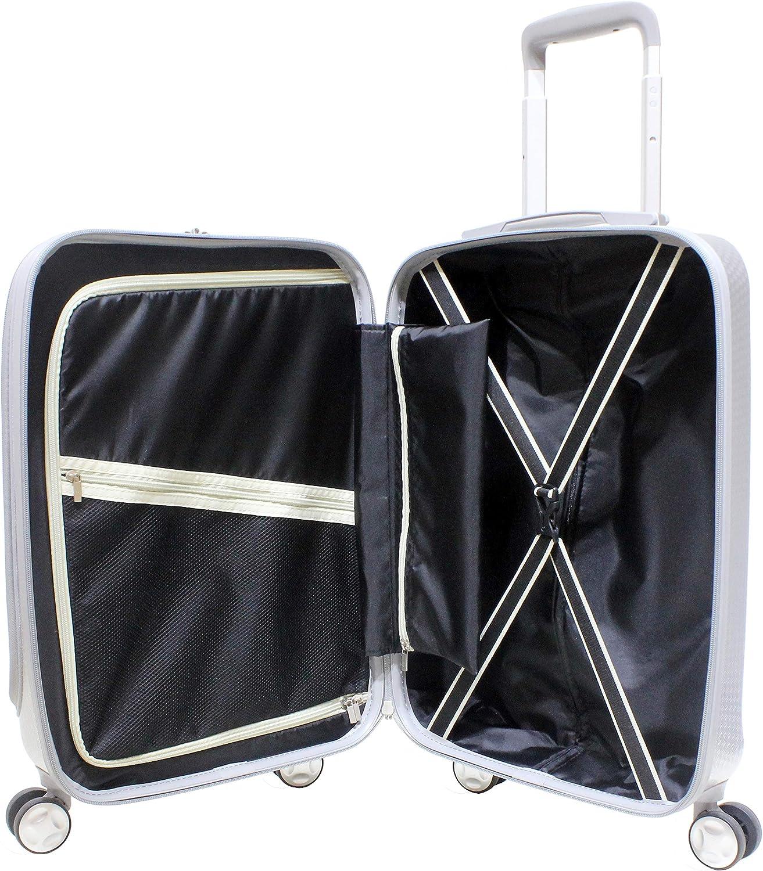 EXZACT Luggage Set 3 Piece Expandable Lightweight 4 Wheeled Spinner Silver TSA Lock