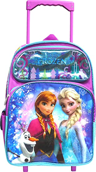 763730d4d15 Disney Frozen Elsa and Anna 12 quot  Toddler Rolling Backpack - New Design