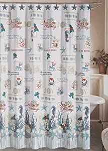 Beatrice Home Fashions Oceanholic Shower Curtain & Hooks One Size White/Blue/red